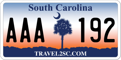 SC license plate AAA192