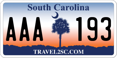 SC license plate AAA193