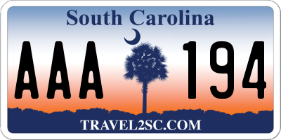 SC license plate AAA194