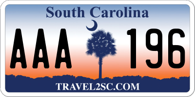 SC license plate AAA196