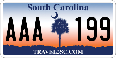 SC license plate AAA199