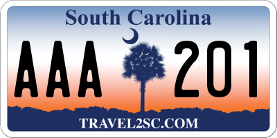 SC license plate AAA201