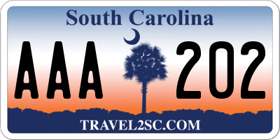 SC license plate AAA202