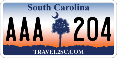 SC license plate AAA204