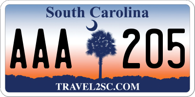 SC license plate AAA205