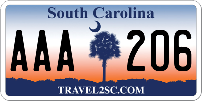 SC license plate AAA206