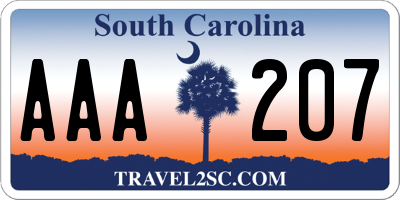 SC license plate AAA207