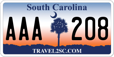 SC license plate AAA208