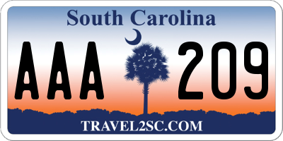 SC license plate AAA209