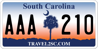 SC license plate AAA210