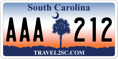 SC license plate AAA212