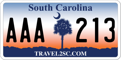 SC license plate AAA213