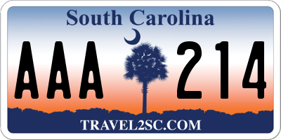 SC license plate AAA214