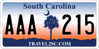 SC license plate AAA215