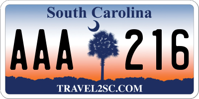 SC license plate AAA216
