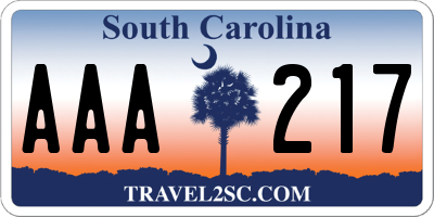 SC license plate AAA217