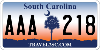 SC license plate AAA218