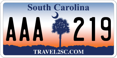 SC license plate AAA219