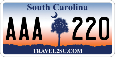 SC license plate AAA220