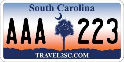 SC license plate AAA223