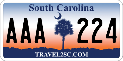 SC license plate AAA224