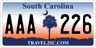 SC license plate AAA226