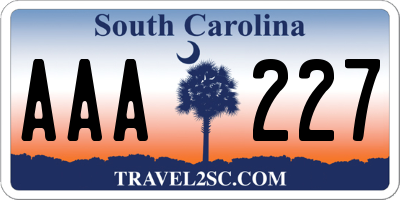 SC license plate AAA227