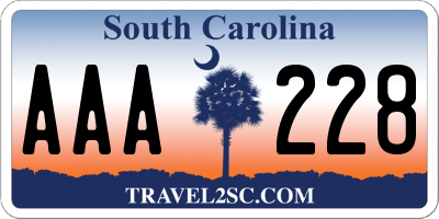 SC license plate AAA228