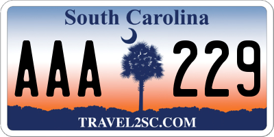 SC license plate AAA229