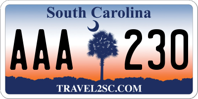 SC license plate AAA230