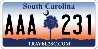 SC license plate AAA231