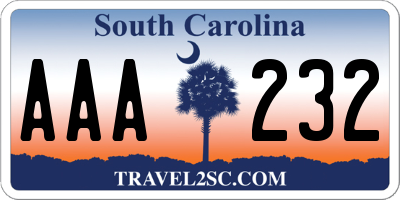 SC license plate AAA232