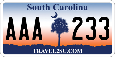SC license plate AAA233