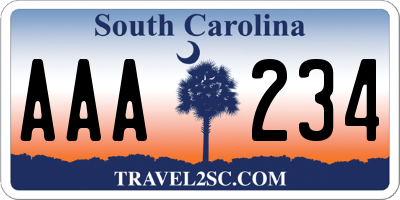 SC license plate AAA234