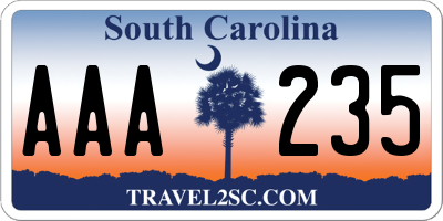 SC license plate AAA235