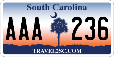 SC license plate AAA236