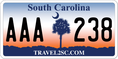 SC license plate AAA238
