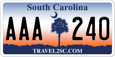 SC license plate AAA240