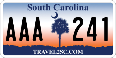 SC license plate AAA241