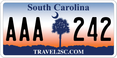 SC license plate AAA242