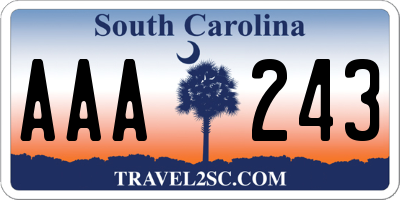 SC license plate AAA243
