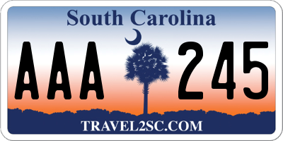 SC license plate AAA245