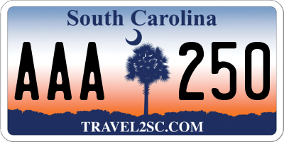 SC license plate AAA250