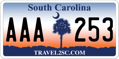 SC license plate AAA253