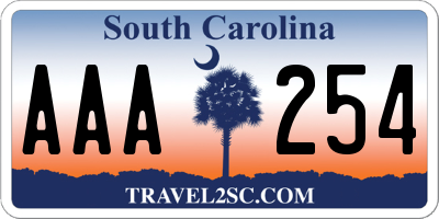 SC license plate AAA254