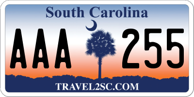 SC license plate AAA255