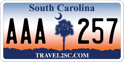 SC license plate AAA257