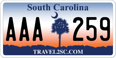 SC license plate AAA259