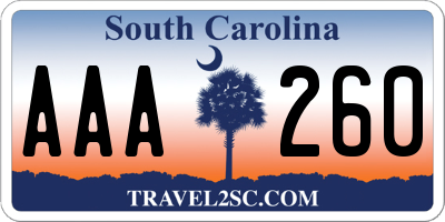 SC license plate AAA260