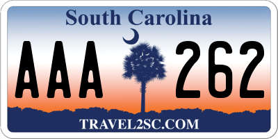 SC license plate AAA262